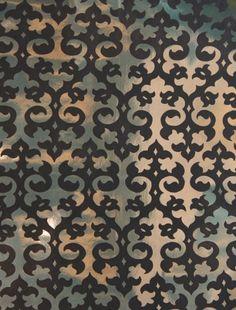 Black & Gold Mylar Grill velvet flocked wallcovering: VCC0833   Glossy Mylar Metallic Wallpapers