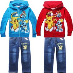 2017 Children Kids girls Clothing Sets Autumn Winter Sets Hooded T shirts Suits pokemon Baby Boys girls t-shirt+Pant Clothes set