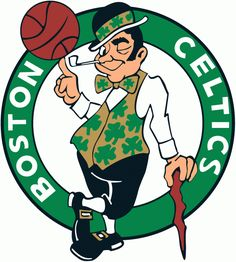 Boston Celtics Primary Logo (1996) - Celtic in gold and black spinning a basketball while smoking in a green circle