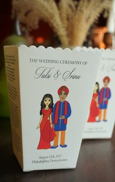 Indian Emoji Wedding Program Popcorn Box, Rose Petal Box, Personalized Bitmoji Hindu Wedding Program