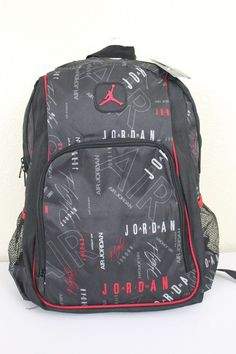 96610eabc9ee NWT NIKE AIR JORDAN Jumpman Black Red Laptop Mesh Bottle Pockets Backpack  Bag  Nike  Backpack  ebay  Nike  Backpack  JordanJumpman