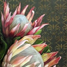 Pink Proteas on Brown Damask Pattern - - - Oil on Canvas - Unframed Protea Art, Protea Flower, South African Artists, Flower Paintings, Painting Flowers, Botanical Illustration, Botanical Prints, Art Oil, Painting Inspiration