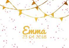 Geboortekaartje confetti goud, verkrijgbaar bij #kaartje2go voor € 1,89