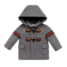Gucci - Baby Boy Grey Wool Montgomery Coat