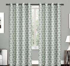 Seafoam Lattice Pattern Window Curtain Set 84 Inch Panel Pairs Stunning Modern Trendy Trellis Geometric Pattern Unlined Cotton Matte Nickel Grommet