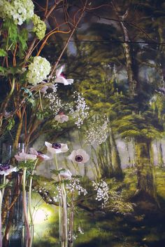 """Esteemed French artist Claire Basler is having her personal exhibition """"La Joie des Fleurs"""" at the Amy Li Gallery in Beijing. Under the influence of her father, Basler became accustomed to nature. Art Floral, Wall Murals, Wall Art, French Artists, Botanical Art, Contemporary Artists, Flower Art, Landscape Paintings, Landscape Art"""