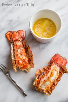 This 10 Minute Perfect Broiled Lobster Tails Recipe is the quickest, tastiest, and easiest way to cook lobster tails- get perfect lobster every time! Baked Lobster Tails, Broiled Lobster Tails Recipe, Broil Lobster Tail, Baked Shrimp, Fish Dishes, Seafood Dishes, Seafood Recipes, Cooking Recipes, Snacks