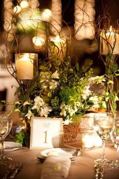 LOVE using natural items like the twigs and wood for centerpieces. (cheaper too!)
