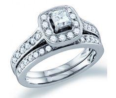 Princess Diamond Engagement Ring Wedding Set 14k White Gold (1.50ct) #Diamond #wedding #Bridal #Ring #fashion #Jewelry #White