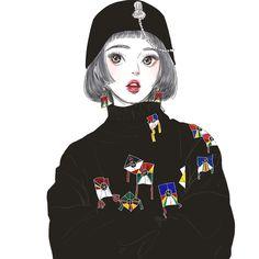 #낙서#그림#일러스트#black#한복#생활한복 Hair Illustration, People Illustration, Art Girl, Art Inspo, Anime Korea, Human Art, Manga Drawing, Fashion Sketches, Art Pictures