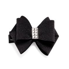 Treat your tresses to this decorative hair bow. Featuring an intricate black bow adorned with CZ, this accessory serves both fashion and function needs.   shop spidazzlingjewels.kitsylane.com !!!