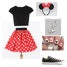 """Minnie Mouse costume"" by megan-j-hill ❤ liked on Polyvore featuring Converse, Alice + Olivia and Disney"
