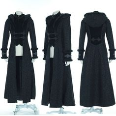 Designer Black Hooded Long Goth Jackets Trench Coats Windbreakers SKU-11401236