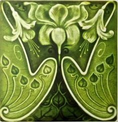 Shop Sexy Green Art Nouveau Floral Repro Tile created by TessieRay. Glass Art Design, Design Art, Interior Design, Antique Art, Antique Jewelry, Vintage Jewelry, Art Nouveau Tiles, Visual Texture, Zodiac Art