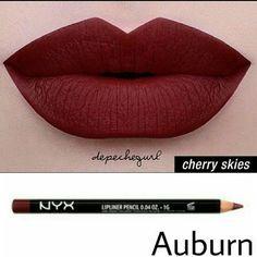 NYX Lip Bundle NYX Liquid Suede- Cherry Skies NYX Slim Lip Pencil- Auburn NYX Makeup Lipstick #lipcolorsnyx #lipcolorsmatte