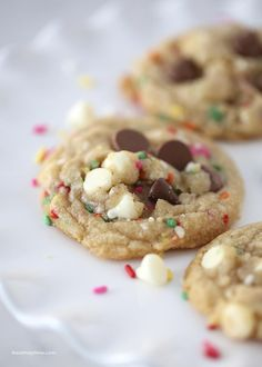 Chocolate Chip and Sprinkle Birthday Cookies. Remember to buy slave-free chocolate, please!