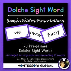 Pre-Primer Dolche Sight Word Spelling Lists, Posters & Google Slide Flash Cards