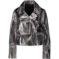 McQ Alexander McQueen Metallic textured-leather biker jacket (£398) ❤ liked on Polyvore featuring outerwear, jackets, gunmetal, lapel jacket, asymmetrical zipper jacket, mcq by alexander mcqueen, motorcycle jackets and metallic moto jacket