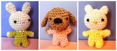 "Mini Babies Bunny Cat and Dog - Free Amigurumi Pattern (German and English) - PDF Format - Click to ""Baby"" in purple letters at the end of the post here: http://amilovesgurumi.com/2015/02/02/how-to-make-a-baby-no-not-what-you-think/"