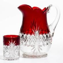 TARENTUM'S ATLANTA (OMN) / ROYAL CRYSTAL - RUBY-STAINED WATER PITCHER AND…