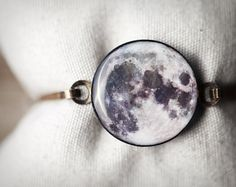 Full Moon bracelet - Moon jewelry - Bangle bracelet - Night, stars  (BT021)