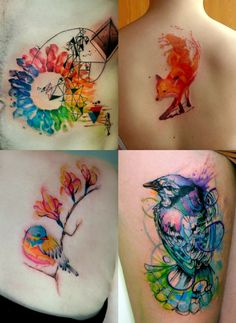 "brasspistol: "" leavebonesexposed: "" Is it even possible to not love watercolor tattoos? "" Omfg """