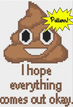 PDF Poop Emoji Cross Stitch Downloadable by LupineLaneDesign