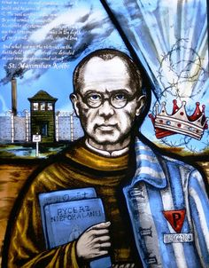A stained glass window remembering Polish priest Saint Maximilian Kolbe who died during the holocaust in Auschwitz concentration camp. Catholic Saints, Patron Saints, Catholic Prayers, Catholic News, Catholic Art, Religious Art, Maximillian Kolbe, St Maximilian, All Souls Day