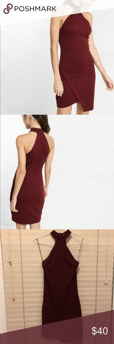 EUC⭐️ Express High-Neck Asymmetrical Bodycon Dress ONLY WORN ONCE! ⭐️ In excellent used condition with virtually no sign of wear!  Express High Neck Asymmetrical Cutaway Dress in Burgundy/Wine. Perfect for a night out or a party. Tight but made of stretchy and thick material that will streamline your curves! ❤️ Express Dresses Asymmetrical