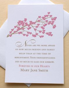 Funeral Thank You Sympathy Card with Rose Colored Blossoms - Set of 36 FLAT Cards