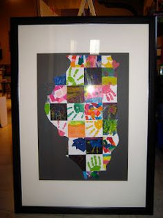 Our auction project from my preschool class.  Simply collect art from each child, trace and cut into squares. Glue on to a poster board. Trace out desired shape and cut!