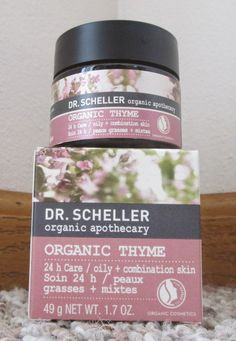 Dr. Scheller Facial Products ReviewOrganic Thyme 24 Hour Care I love the scent of this product! It was gentle and sweet and reminded me of the scent that babies give off. This moisturizer seemed to even out my skin tone upon application, and it left my face soft and smooth. With winter weather here, my skin has been getting really dry, and this is a great product for my face. I really like the fact that this is an organic product.