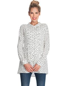 Polka Dot Button Down Maternity Blouse | Seraphine | Maternity work wear | Shirts for pregnancy