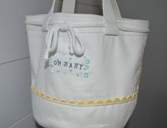 OH BABY UNISEX Cotton Bucket with Rick Rack Trim Tote