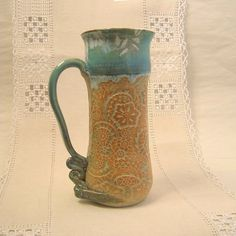 Stoneware Pottery Irish Coffee Mug  14 oz  by PorcelainJazz on Etsy.