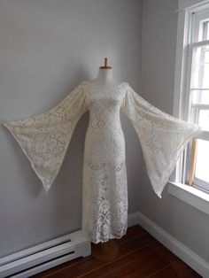 Vintage 1960s 1970s Sheer Off White Cream Crochet Lace  Angel Bell Sleeve HIPPIE Wedding Maxi Dress by atomix on Etsy