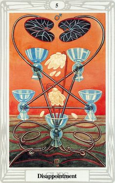 5 de coupes (Disappointment) - Tarot Thoth par Aleister Crowley