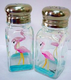 FLAMINGO SALT AND PEPPER SHAKERS - hand painted art on glass ...