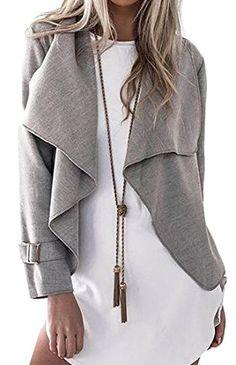 4f785833bf Autumn Jacket Cardigan Turn Down Collar Asymmetric Loose Fitting Sweater  Jacket S-XL Grey Shawl Buckle Fall Autumn Winter Casual Dressy