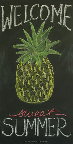 Less-Than-Perfect Life of Bliss: New Summer Pineapple Chalkboard Art (and Free Printable!)