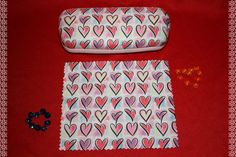 Hearts Eyeglass case hard shell with cleaning towel by ClownLaugh