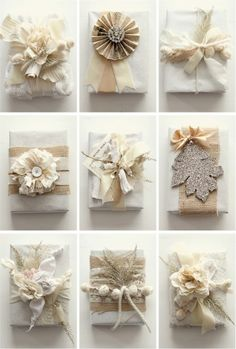 tone on tone wrapping with scraps, bits of ribbon, paper, textiles and natural elements