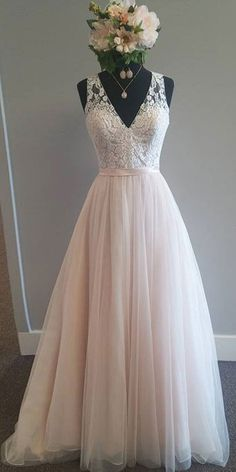 Modest Tulle V-neck Neckline A-Line Wedding Dress With Lace Appliques & Belt