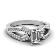 Shop floral halo twisted diamond engagement ring in white gold at Fascinating Diamonds. This diamond engagement ring is designed in Prong setting Emerald Cut Diamonds, Princess Cut Diamonds, Cheap Engagement Rings, Diamond Engagement Rings, Twisted Princesses, Best Diamond, Stone Rings, Halo, White Gold