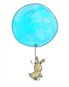etsy - trafalgar's square - baby nursery - art print - flying high - bunny with balloon - aqua