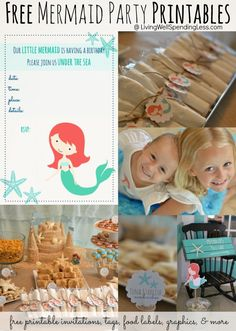 Free mermaid party printables. These are so cute! Includes invitation, food labels, tags, iron-on transfers & more. Such a great resource if you happen to be planning a mermaid party.