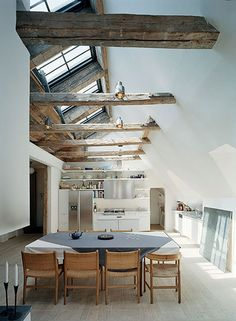 A cozy home with ceiling beams