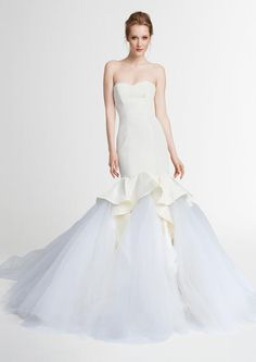 2015 Simple Wedding Dresses Mermaid Strapless Sleeveless Backless Covered Button Court Train Ruffles Satin with Tiers Tulle Court Train Online with $149.85/Piece on Beautydoor's Store | DHgate.com
