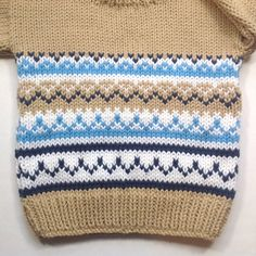 Toddler tan knit sweater 12 to 24 months Fair Isle baby knit Fair Isle sweater Toddler Knitwear Gift for toddler Baby Boy Knitting Patterns, Knitting For Kids, Knitting Designs, Knit Patterns, Baby Knitting, Tejido Fair Isle, Punto Fair Isle, Knit Baby Sweaters, Boys Sweaters