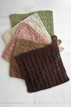 Try some fun new stitches while creating a useful finished project! These  stitch sampler washcloths feature 5 interesting patterns all using Fibra  Natura Java Yarn. Java is a 100% Hemp fiber which is naturally super  absorbent and mildew resistant. Plus, each ball of Java yields 3  washcloths.